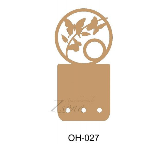 Oh-027 kulcstartó pillango fából
