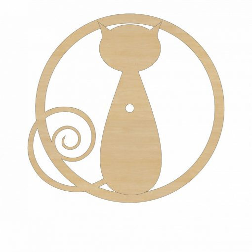Dekorálható fából készült óralap cica mintával