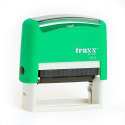 Automata zöld TRAXX  9013 bélyegző egyedi kék lenyomattal