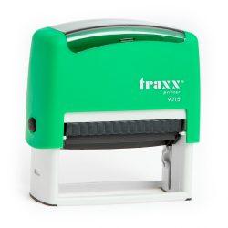 Automata zöld TRAXX  9015 bélyegző egyedi kék lenyomattal