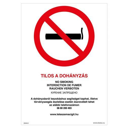 Tilos a dohányzás! Műanyag tábla 210x297 mm