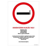 Dohányzásra kijelölt hely!  Öntapadós matrica