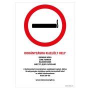 Dohányzásra kijelölt hely! Alumínium tábla