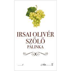 Pálinkás cimke ECO Irsai olivér