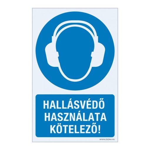 Hallásvédő használata kötelező! Öntapadós matrica 160x250 mm