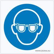 Védőszemüveg használata kötelező! Öntapadós matrica