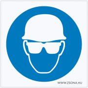Védősisak és védőszemüveg használata kötelező! Öntapadós matrica