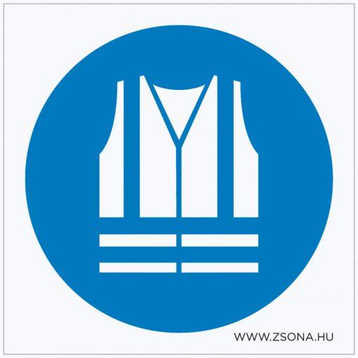 Jólláthatósági mellény viselése kötelező! Öntapadós matrica 100x100 mm