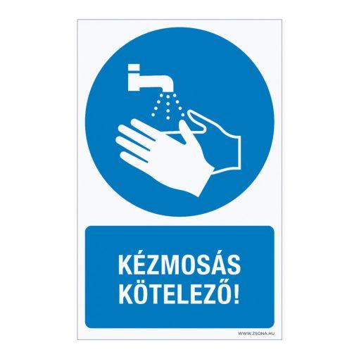 Kézmosás kötelező! Műanyag tábla 160x250 mm