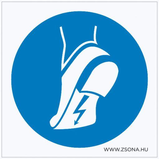 Vezetőtalpú cipő használata kötelező! Öntapadós matrica 100x100 mm