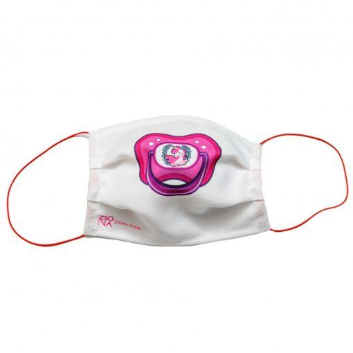 Mosható textil szájmaszk  rózsaszín cumi mintával