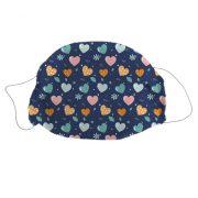 Mosható textil szájmaszk Szivecske mintával gyerek méret