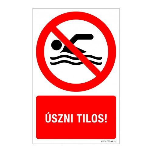 Úszni tilos! Műanyag tábla