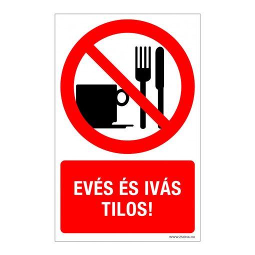Evés és ivás tilos! Műanyag tábla 100x160 mm