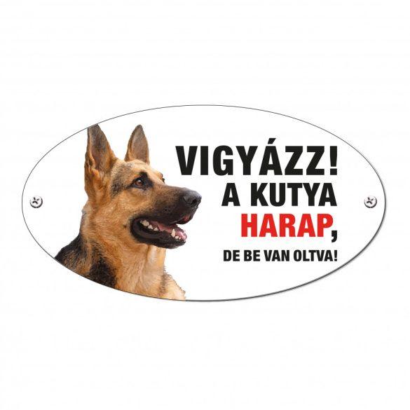 Vigyázz a kutya harap tábla alumíniumból Német Juhász kutya